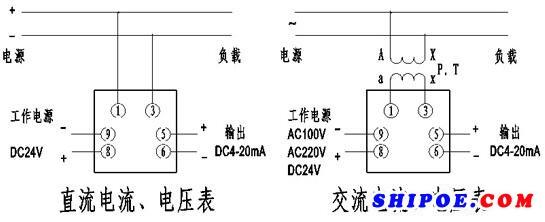 上海自一船用仪表有限公司电流电压表接线图