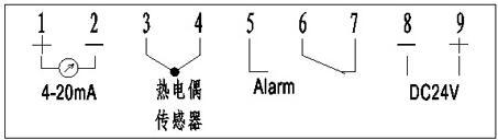 上海自一船用仪表有限公司生产的产品船用带报警输接线示意图