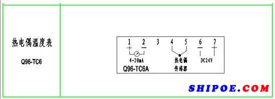 上海自一船用仪表有限公司生产的热电偶温度表K型Q96-TC6接线图