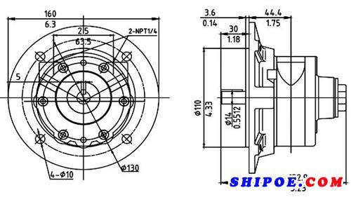 如东宏信机械有限公司生产的船用气动马达HX2AM-F110结构图