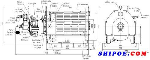 如东宏信机械制造有限公司生产的2T船用气动绞车外形图