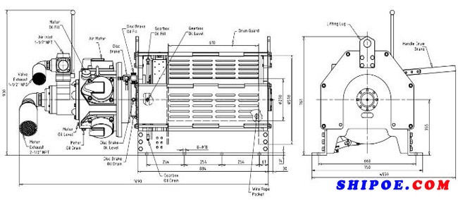 船用气动绞车产品配置