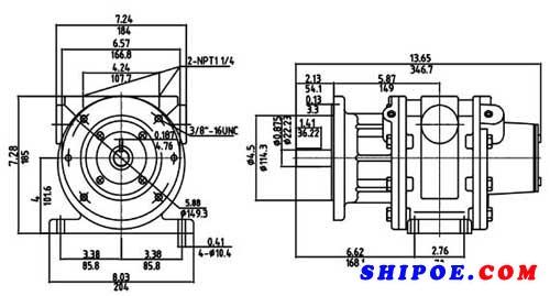叶片式船用气动马达外形图