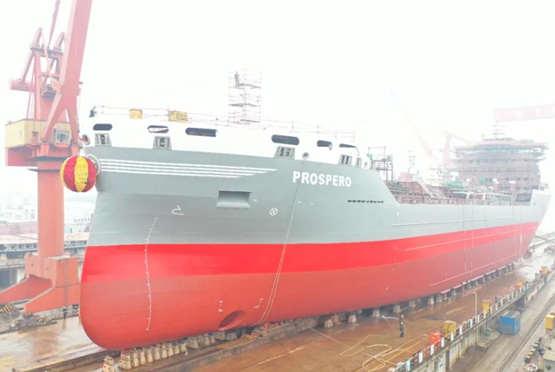 蕪湖造船廠建造全球首艘22000噸混合動力化學品船順利下水