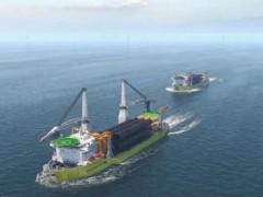 这艘安装船,一次运12根超大单桩